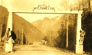 Ruby Egbert is one of the women posing at the Index entry arch on the old Cascade Highway that entered town on the west end. Photo from the Egbert album via Bob Morse.